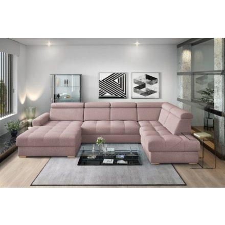 Nagykanizsa U-alakú sarok ülőgarnitúra - jobbos 189 cm X  349 cm X 210 cm - rózsaszín színben