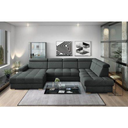 Nagykanizsa U-alakú sarok ülőgarnitúra - jobbos 189 cm X  374 cm X 210 cm - fekete színben