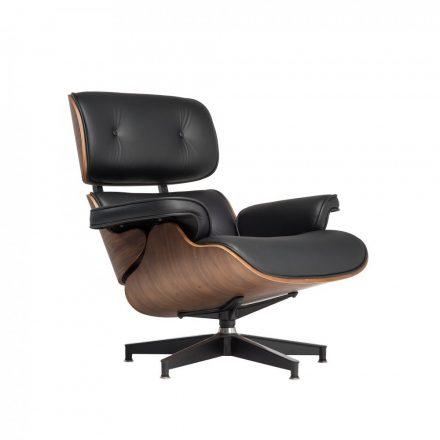 Design fotel Tokió FEKETE BŐR / világos dió