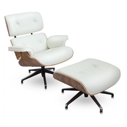 Design fotel Tokió lábtartóval FEHÉR BŐR / világos dió